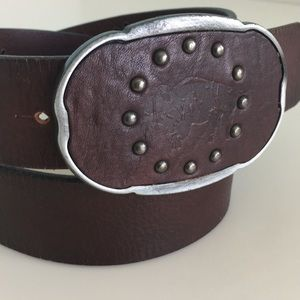 "Embossed Buffalo belt 1 1/2"" leather Italy Small"